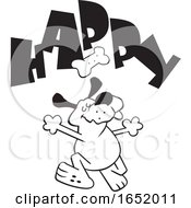 Cartoon Black And White Dog Dancing Under A Biscuit And Happy Text