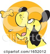 Cartoon Dog Catching A Biscuit Over A Circle