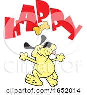 Cartoon Yellow Dog Dancing Under A Biscuit And Happy Text