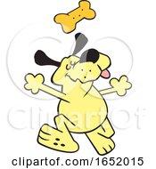 Cartoon Happy Yellow Dog Dancing Under A Biscuit