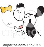 Cartoon Dog Catching A Biscuit