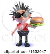 Crazy Punk Rocker Cartoon Character Eating A Cheese Burger In 3d by Steve Young