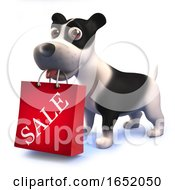 Cute Puppy Dog Hound Holding A Sale Shopping Bag In Its Mouth In 3d by Steve Young