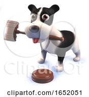 Cute Puppy Dog Hound Playing With An Auctioneers Gavel In 3d by Steve Young