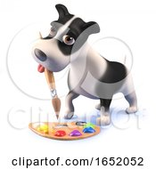 Poster, Art Print Of Cute Cartoon 3d Puppy Dog Hound Playing With A Paint Brush And Palette
