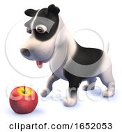 Cute Puppy Dog Hound In 3d Playing With An Apple by Steve Young
