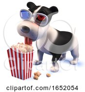 Puppy Dog Hound Wearing 3d Glasses And Eating Popcorn