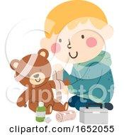 Kid Boy Toy Bear Bandage Illustration