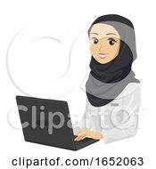 Teen Girl Medical Muslim Student Laptop