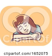 Girl Symptom Fatigue Illustration