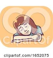 Girl Symptom Fatigue Illustration