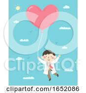 Poster, Art Print Of Kid Boy Doctor Heart Balloon Illustration