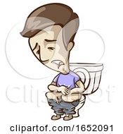 Man Symptom Constipated Illustration