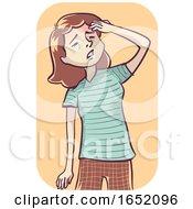 Woman Headache Mild Illustration