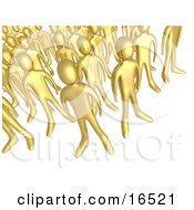 Crowd Of Gold People Standing Together Symbolizing Teamwork And Unity