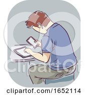 Man Hand Symptom Mobile Addiction Illustration