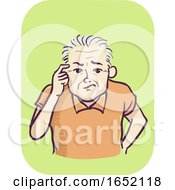Man Senior Symptom Memory Loss Illustration