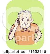 Man Senior Symptom Memory Loss Illustration