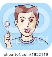 Poster, Art Print Of Man Spoon Metallic Taste Illustration