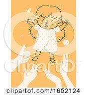 Poster, Art Print Of Kid Girl Child Raising Praise Validation