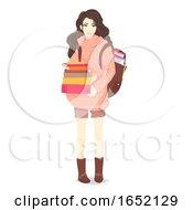 Teen Girl Carry Books Illustration