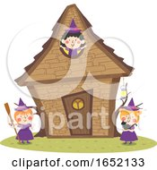 Kids Girls Witch House Illustration
