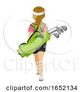 Teen Girl Golf Bag Back View Illustration