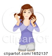 Teen Girl Overwhelmed Illustration