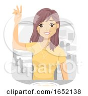 Teen Girl Pay Order Bill Receipt Illustration