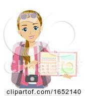 Teen Girl Planner Travel Illustration