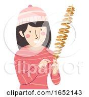 Girl Spiral Potato Snack Illustration