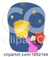 Kid Girl Advent Floating Lantern Illustration