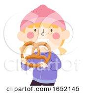 Kid Girl Big Pretzel Illustration