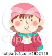 Kid Girl Hot Chocolate Illustration