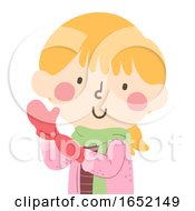 Kid Girl Wear Mittens Illustration