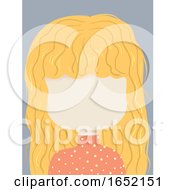 Kid Girl Blank Face Wavy Blonde Hair Illustration