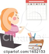 Kid Girl Study Plan Calendar Illustration