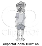 Kid Boy War Victim Gas Mask Illustration