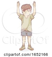 Poster, Art Print Of Kid Boy War Victim Hold Hands Up Illustration