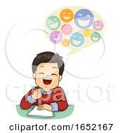 Kid Boy Write Jokes Illustration