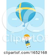Kid Boy Sweden Balloon Illustration