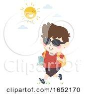Kid Student Sunglasses Summer Illustration