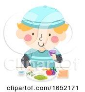 Kid Boy Passover Food Plate Illustration