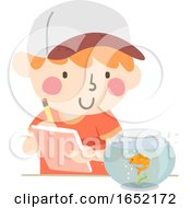 Kid Boy Observe Fish Illustration