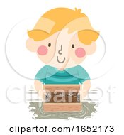 Kid Boy Mining Soil Sifter Illustration