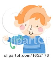 Kid Boy Chameleon Camouflage Illustration
