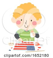 Kid Boy Flag Day Craft Illustration