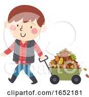 Kid Boy Wagon Collect Autumn Leaves Illustration