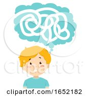 Poster, Art Print Of Kid Boy Think Puzzle Maze Illustration