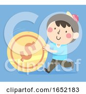 Kid Boy Push Coin Illustration